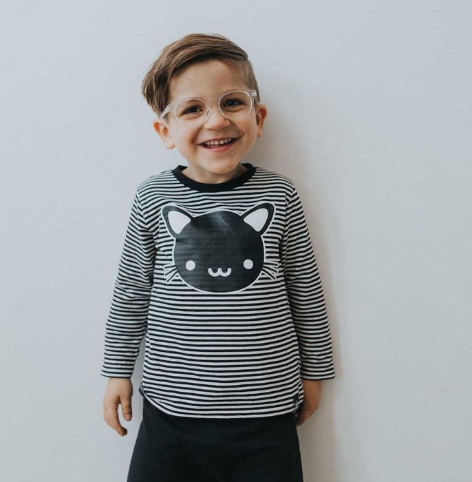 Whistle & Flute Cat Striped Tee on DLK | designlifekids.com