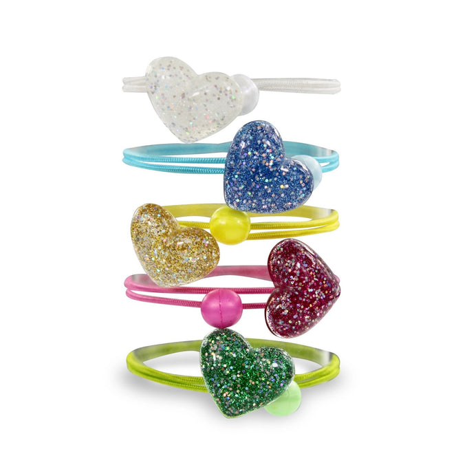 Milk and Soda Glitter Heart Hair Elastic on DLK | designlifekids.com