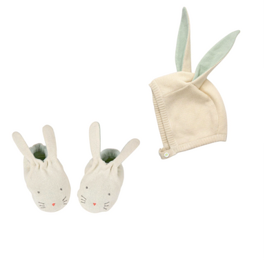 Meri Meri Mint Bunny Bonnet and Shoes at Design Life Kids