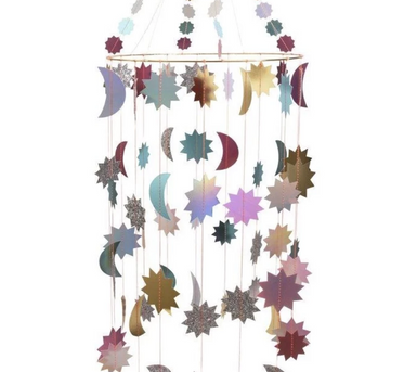 Meri Meri Metallic Moon and Stars Chandelier on Design Life Kids