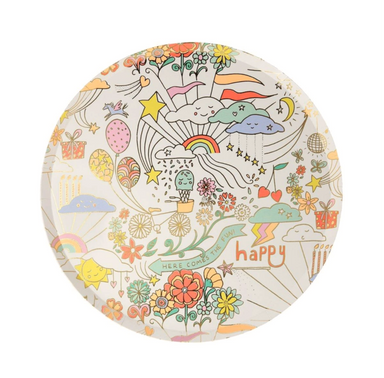 Meri Meri Happy Doodle Retro Kawaii Party Plates on Design Life Kids