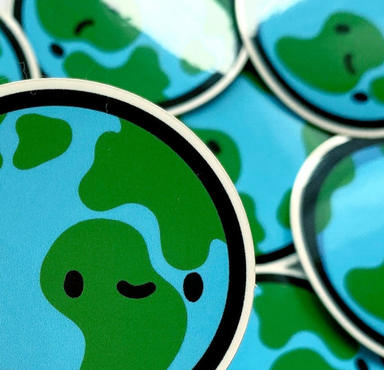 Kawaii Earth Vinyl Sticker on Design Life Kids