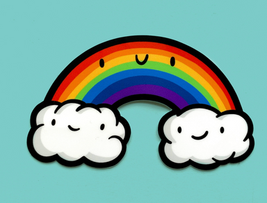 Mini Kawaii Rainbow Sticker on Design Life Kids