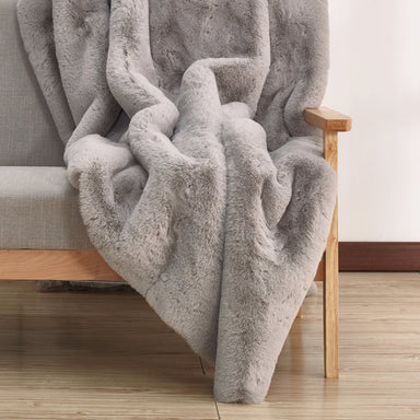 Modern Chinchilla Faux Fur Throw Blanket on Design Life Kids