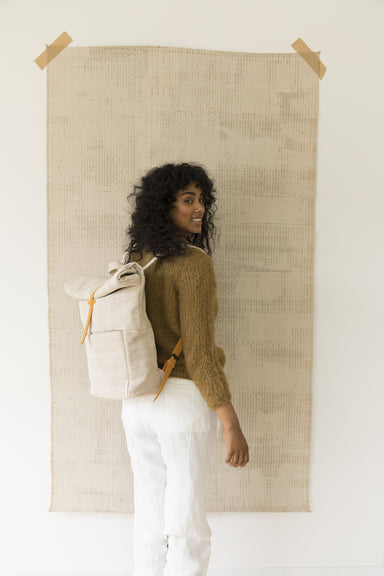 Monk and Anna Linen and Vegan Leather Rolltop Backpack on Design Life Kids