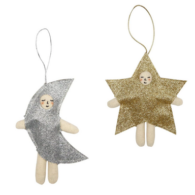 Moon & Star Ornament Set