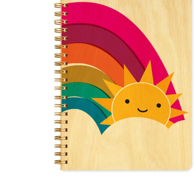 Kawaii Sun and Rainbow Wooden Journal Notebook on Design Life Kids