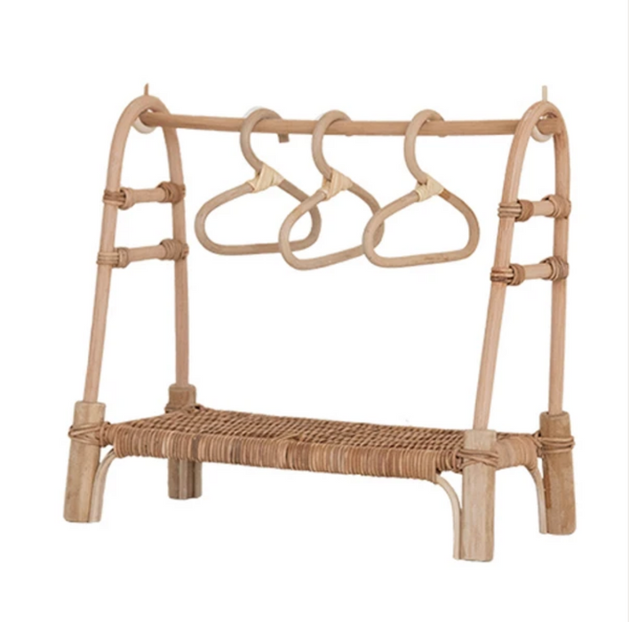 Olli Ella Dinkum Doll Rattan Clothing Rail Rack on Design Life Kids