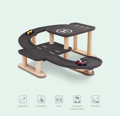Plan Toys Race and Play Parking Garage on Design Life Kids