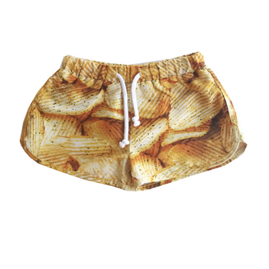 Romey Loves Lulu Potato Chip Swim Trunks on Design Life Kids