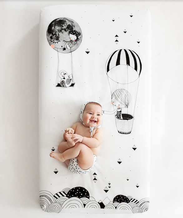 Rookie Humans Freida & the Balloon Crib Sheet on DLK | designlifekids.com