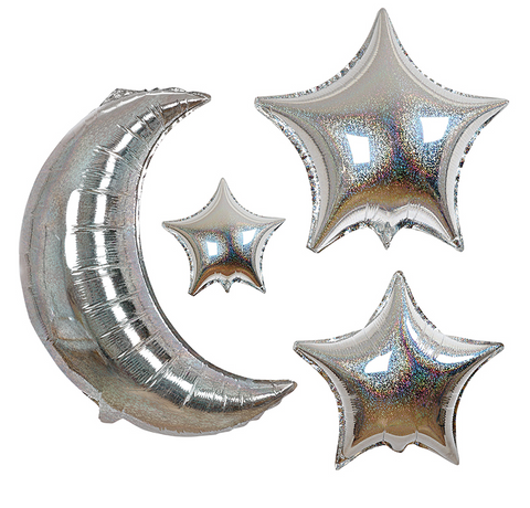Meri Meri Metallic Moon and Stars Balloon Set on DLK