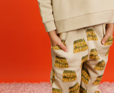 Hugo Loves Tiki Pizza Squad Pants on DLK | designlifekids.com