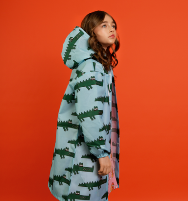 Hugo Loves Tiki Blue Crocodile Raincoat on DLK | designlifekids.com