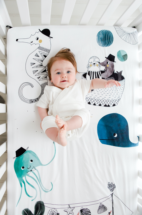 Rookie Humans Underwater Love Crib Sheet on DLK | designlifekids.com