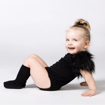 The Tiny Universe Faux Fur Bodysuit on Design Life Kids