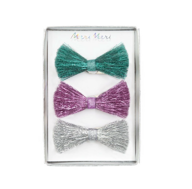 Meri Meri Sparkly Tinsel Bow Hair Clips on Design Life Kids