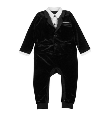 The Tiny Universe Velour Tuxedo Bodysuit on Design Life Kids