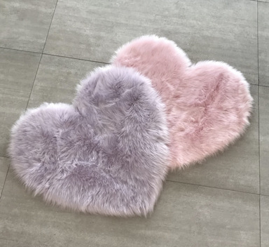 Faux Fur Heart Shaped Rug on Design Life Kids