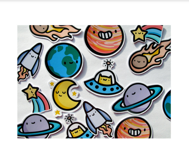 Emily McGaughey Space Dude Stickers on Design Life Kids