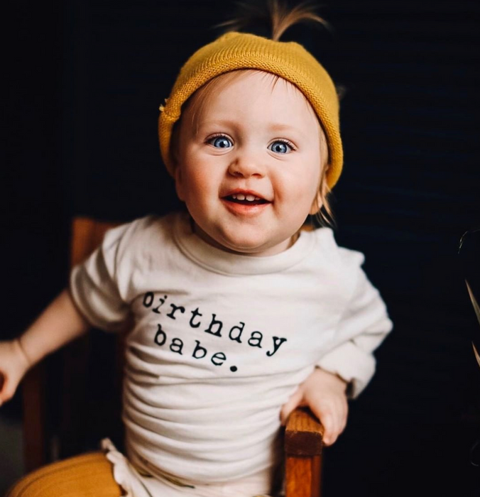 Tenth and Pine Organic Birthday Babe Onesie on Design Life Kids