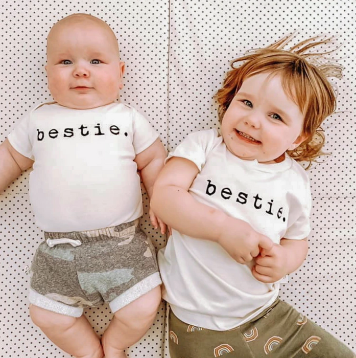 Tenth and Pine Bestie Onesie and Shirt on Design Life Kids