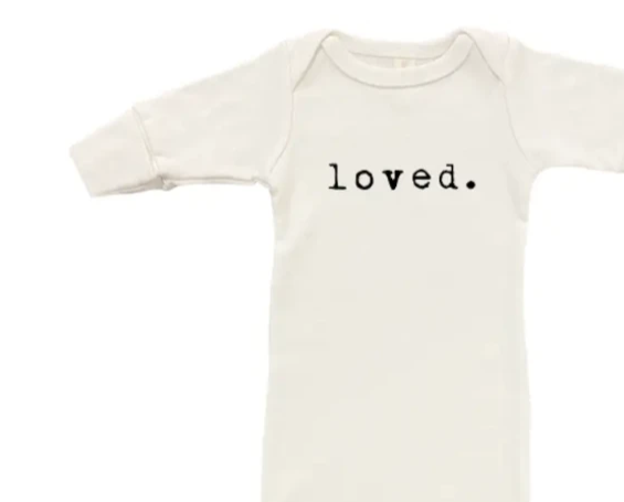 Tenth and Pine Organic Loved Infant Gown on Design Life Kids
