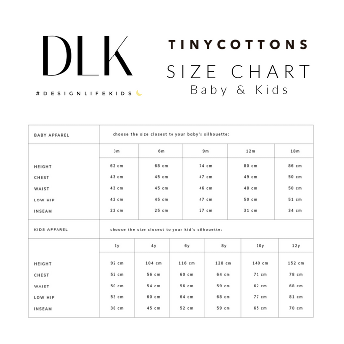 Tiny Cottons Size Chart on Design Life Kids