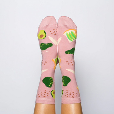 Yellow Owl Avocado Toast Socks on Design Life Kids