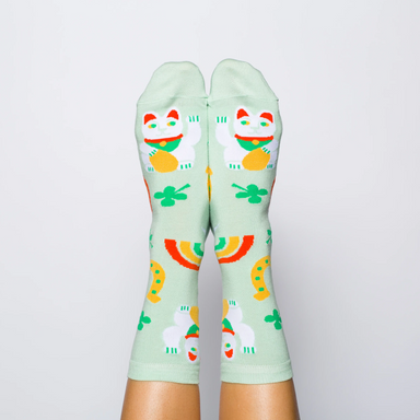 Yellow Owl Lucky Cat Socks on Design Life Kids