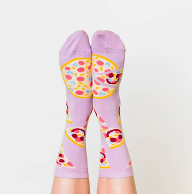 Yellow Owl Pizza Face Socks on Design Life Kids