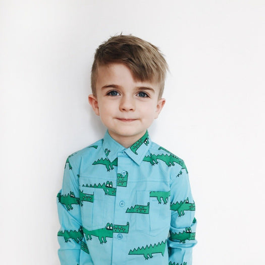 Hugo Loves Tiki Blue Crocodile Collared Shirt on DLK | designlifekids.com