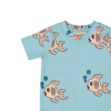 Hugo Loves Tiki Blue Fish Shirt on Design Life Kids