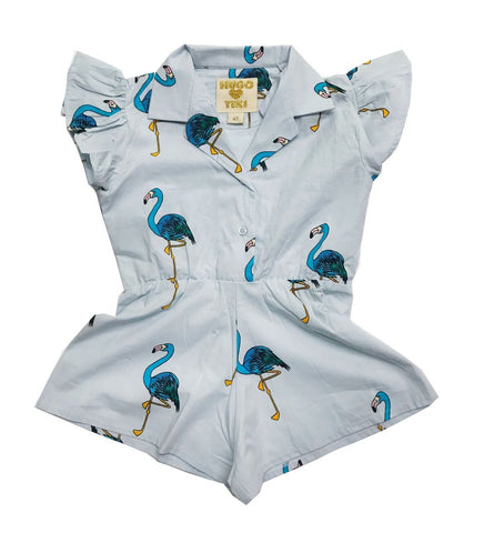 Hugo Loves Tiki Ruffled Romper Blue Flamingos on DLK | designlifekids.com