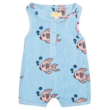Hugo Loves Tiki Blue Fish Romper on Design Life Kids