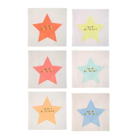 Meri Meri Jazzy Star Large Happy Birthday Paper Party Napkins on DLK