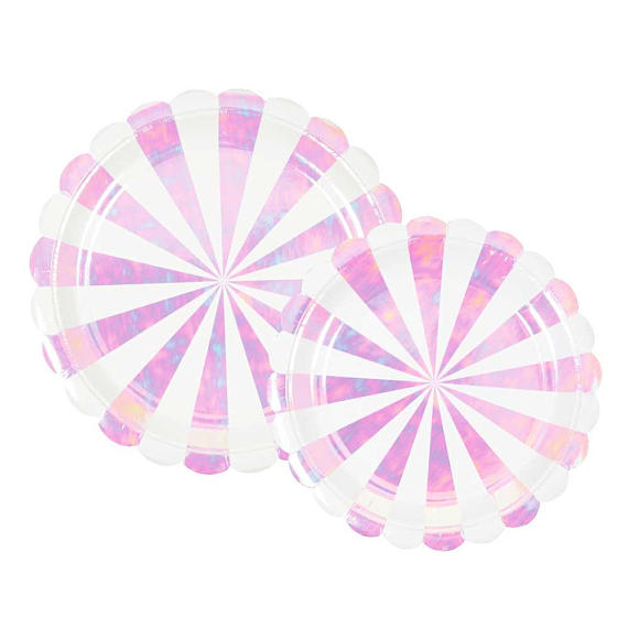 Meri Meri Iridescent Fan Stripe Plates on DLK | designlifekids.com