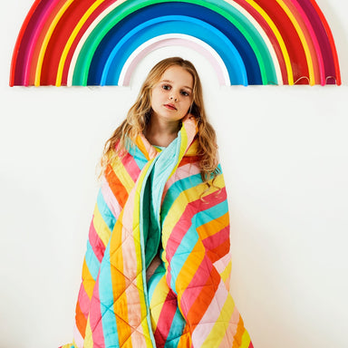 Kip & Co and Studio DIY Rainbow Striped Quilted Comforter on DLK | designlifekids.com