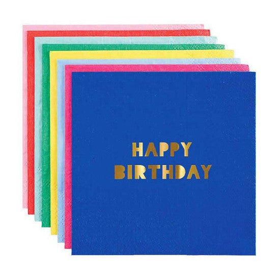 Meri Meri Happy Birthday Paper Party Napkins on DLK