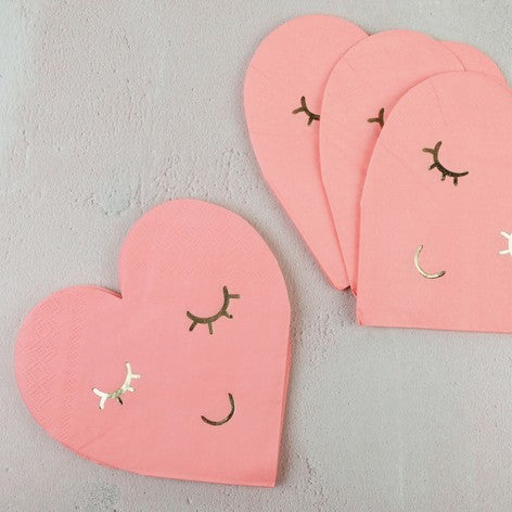 Blushing Heart Paper Napkins
