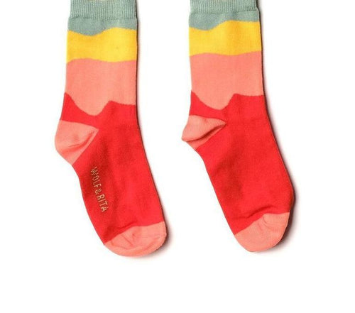 Wolf & Rita Red & Yellow Mini Socks on DLK | designlifekids.com