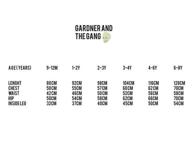 Gardner and the Gang Size Chart on DLK