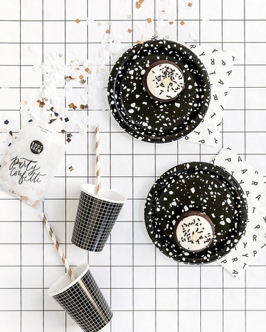 Knot & Bow Black Party Plates on Design Life Kids