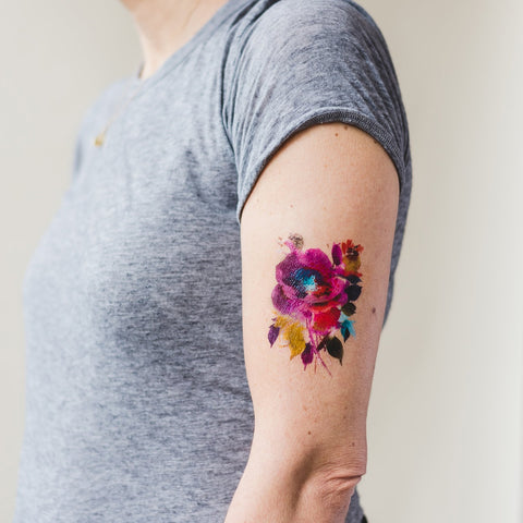 Tattly Watercolor Floral Tattoos on DLK | designlifekids.com