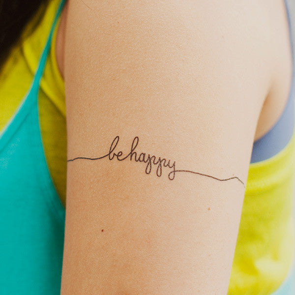 Tattly BE HAPPY TATTOO ON DLK