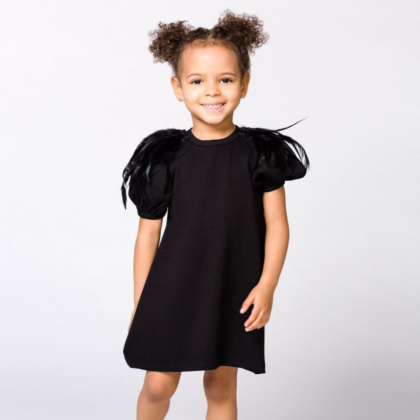 The Tiny Universe Black Feathers Dress on DLK | designlifekids.com