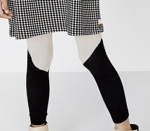 Red Colorblock Footless Tights