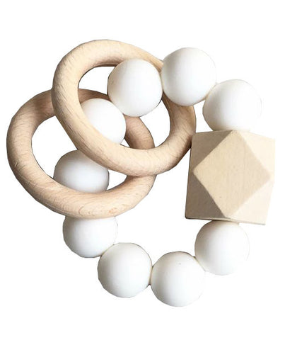 Dove and Dovelet Modern Silicone and Wooden Titan Teether on DLK