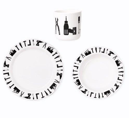 Design Letters Tool School Melamine Plate Set on DLK