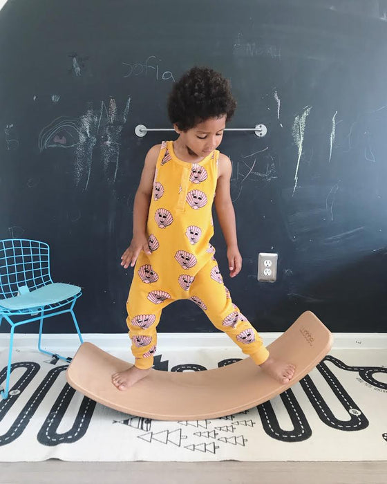 Wobbel Board Balancing Board and OYOY Adventure Rug on DLK | designlifekids.com